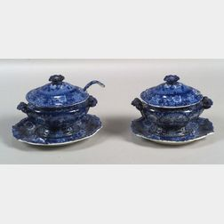 Two Blue Transfer Decorated Staffordshire Sauce Tureens with Undertrays