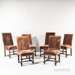 Assembled Set of Six Louis XIV-style Walnut Side Chairs