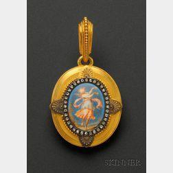 Etruscan Revival 18kt Gold, Enamel and Diamond Pendant, Fontenay, Tiffany & Co.