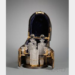 Gothic Revival Coromandel and Brass-mounted Tantalus