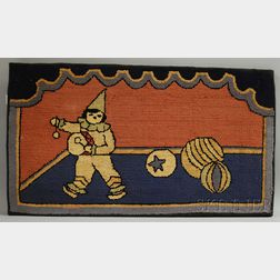 Hooked Rug Depicting a Clown with Drum and Toys