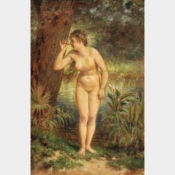 Attributed to Edward Lamson Henry (American, 1841-1919)      Standing Female Nude at a Forest Pool