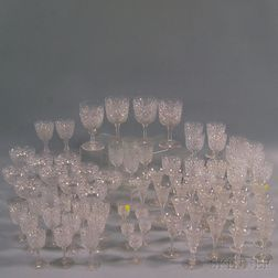 Large Group of Colorless Cut Glass Stemware