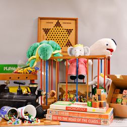 Group of Children's Toys, Wooden Blocks, and Stuffed Animals.     Estimate $60-80
