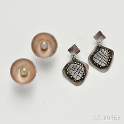 Sigfredo Pineda (b. 1929) Cufflinks and Frank Miraglia Modernist Earrings