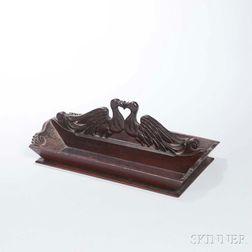 Carved Lovebird-handle Mahogany Knife Box