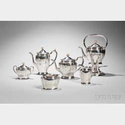 Six-piece Arthur Stone Arts and Crafts Sterling Silver Tea and Coffee Service