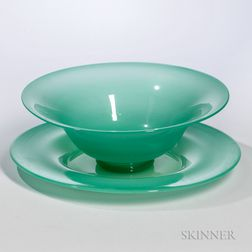 Jade Green Glass Bowl and Plate