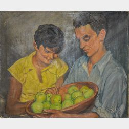 Albert Sterner (New York, 1863-1946)       Couple with Apples