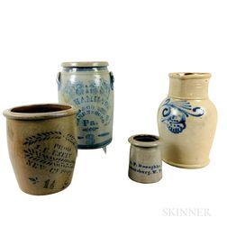 Four Cobalt-decorated Stoneware Vessels