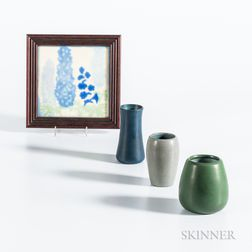 Marblehead Pottery Tile and Three Vases