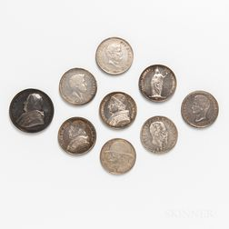 Eight Papal, Italian, and Italian States Crown-sized Coins and a Pius IX Silver Papal Medal