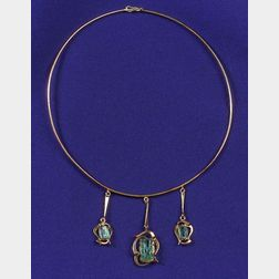 18kt Gold and Green Beryl Necklace