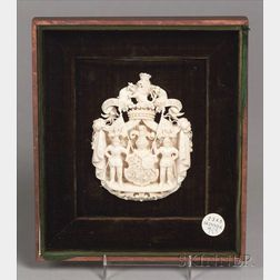 Framed German Carved Ivory Coat of Arms