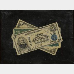 American School, 19th Century      Trompe l'Oeil with One, Five, and Ten Dollar Bills