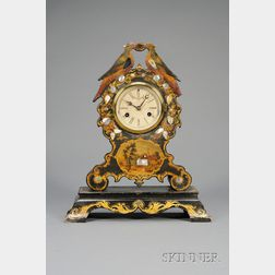 Papier Maché and Mother-of-Pearl Shelf Clock
