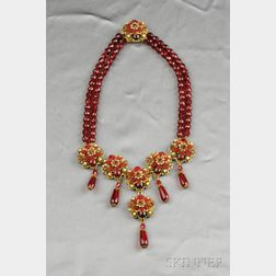 Gilded Metal and Colored Glass Bead Necklace, Stanley Hagler