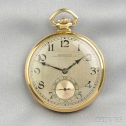 14kt Gold Open Face Pocket Watch, Hamilton