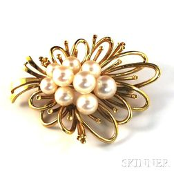 Mikimoto 14kt Gold and Cultured Pearl Cluster Brooch