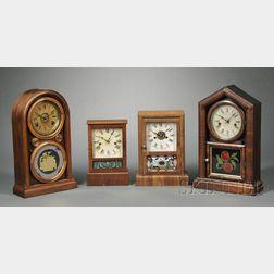 Four Connecticut Mahogany Mantel Clocks