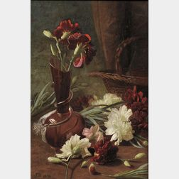 British School, 19th Century      Still Life with Carnations