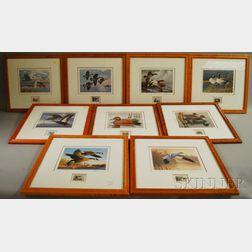 Nineteen Bird's-eye Maple Veneer Framed Waterfowl Stamp Limited Edition Prints
