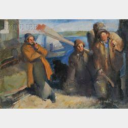 Edmund Franklin Ward (American, 1892-1991)      Fishermen Walking Home