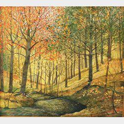 Gary Milek (Vermont, b. 1941)       Autumn Landscape.