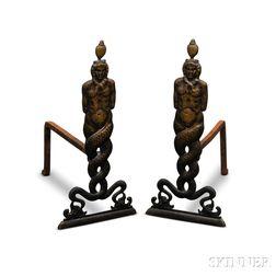 Bronzed Figural Andirons