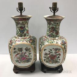Pair of Famille Rose Vases Mounted as Lamps