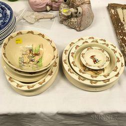 "Six Pieces of Royal Doulton ""Bunnykins"" Ceramic Tableware."