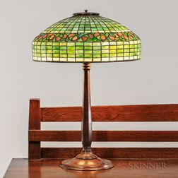 Tiffany Studios Whirling Leaf Table Lamp
