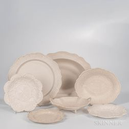 Seven Staffordshire Salt-glazed Stoneware Dishes
