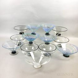 Thirteen Charlie Meaker Footed Round and Conical Ice Cream Bowls