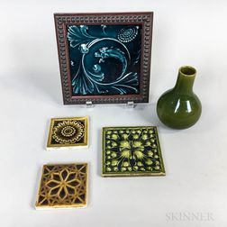 Four J. and J.G. Low Art Tile Works Tiles and a Chelsea Keramic Art Works Bud Vase