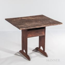 Small Pine and Maple Trestle-foot Chair Table