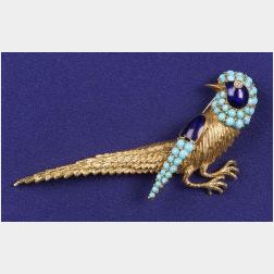 18kt Gold, Turquoise, Diamond and Enamel Pin