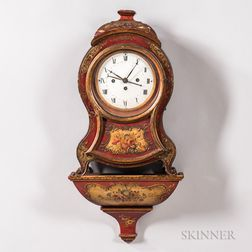 Louis XV-style Red and Polychrome-painted Bracket Clock