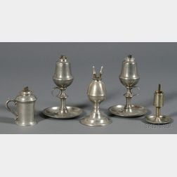 Five Pewter Lighting Devices
