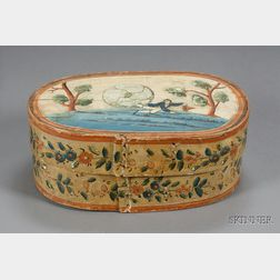Oval Polychrome Painted Wooden Bride's Box