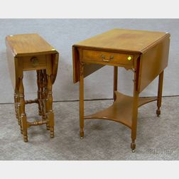 Beacon Hill Collection Chippendale-style Pembroke Table and a William & Mary Style Mahogany Drop-leaf Gate-leg Table.