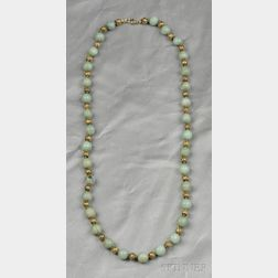 18kt Gold Etruscan Revival Bead and Jade Bead Necklace