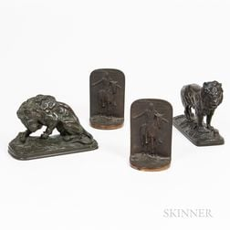 Two Bronze Lion Figures and Pair of Metal Bookends