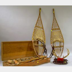 Pair of Wright & Ditson Wood and Sinew Maine Snowshoes, Painted Wood and Wire Lawn Croquet Set, and a Mounted...
