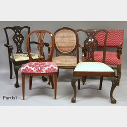 Six Assorted Decorative Side Chairs