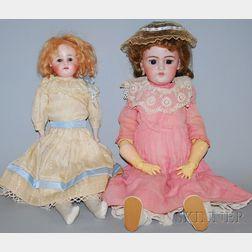 Two German Bisque Head Dolls