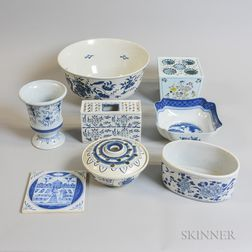 Six Williamsburg Restoration Delft Blue and White Pottery Items and Two Others.     Estimate $250-350