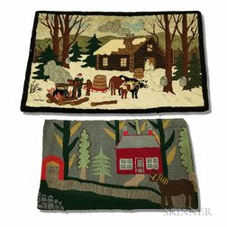 Two Hooked Rugs with Cabin Scenes