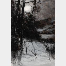 Bruce Crane (American, 1857-1937)      Moonlit Landscape in Winter