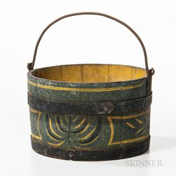 Paint-decorated Wooden Bucket